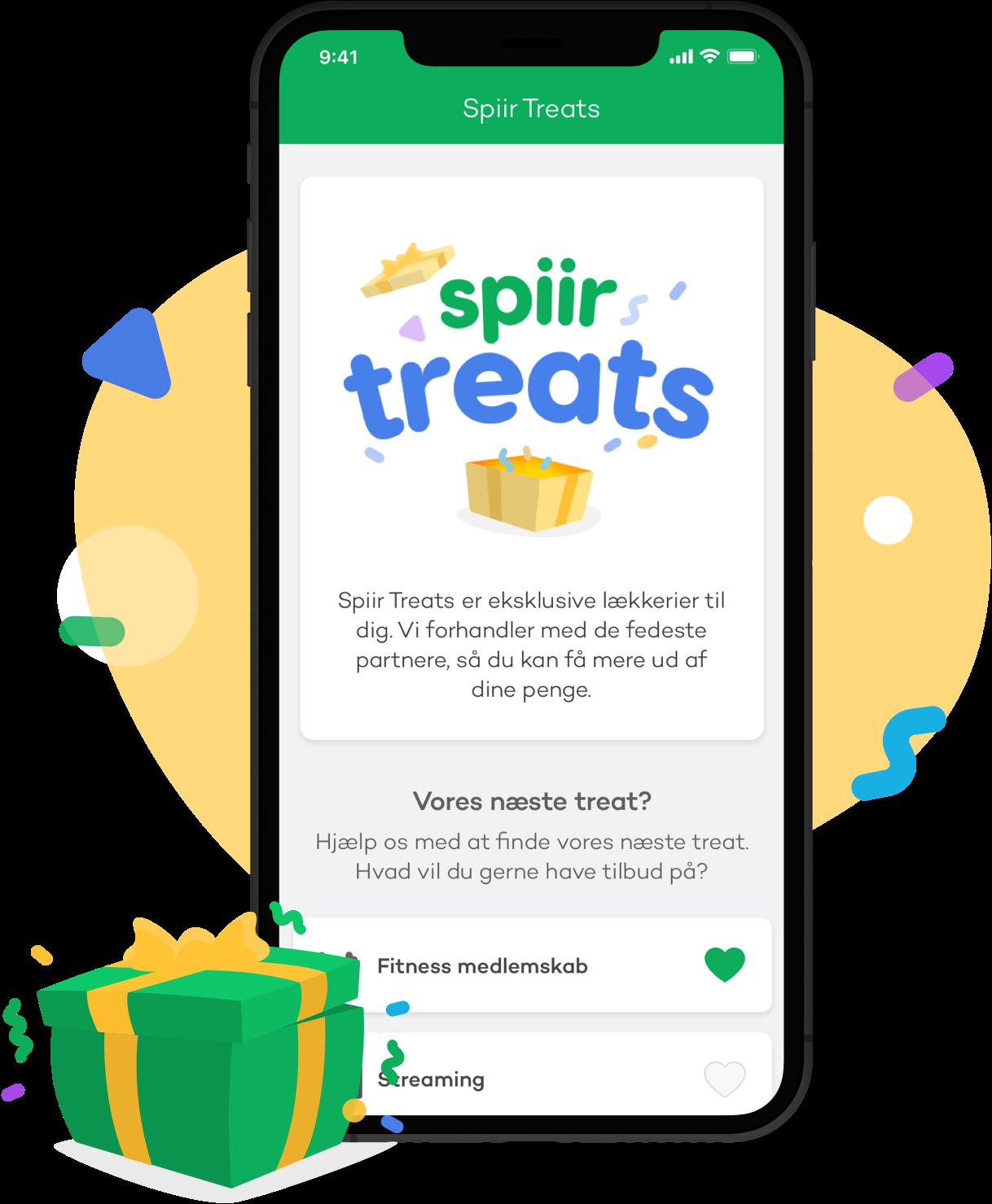 Screenshot af Spiir Treat siden i Spiir appen